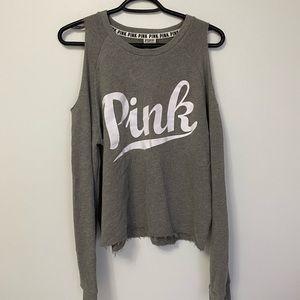 pink victoria's secret cold shoulder sweatshirt